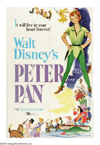 "Peter Pan (RKO, R-1976). One Sheet (27"" X 41""). J.M. Barrie's beloved story of the boy who wouldn't grow up ha..."
