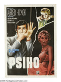 "Movie Posters:Hitchcock, Psycho (Paramount, 1960). Yugoslavian Poster (19.5"" X 27.5""). Alfred Hitchcock's classic thriller ""Psycho"" gets a chilling n..."