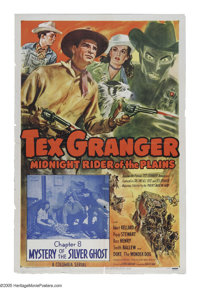 "Tex Granger, Midnight Rider of the Plains (Columbia, 1947). One Sheet (27"" X 41""). This serial, released just..."