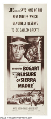 "Treasure of the Sierra Madre (Warner Brothers, R-1953). Insert (14"" X 36""). ""I know what gold does to men..."