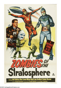 "Zombies of the Stratosphere (Republic, 1952). One Sheet (27"" X 41""). Classic Republic low budget science ficti..."