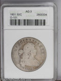 Early Half Dollars: , 1801 50C AG3 ANACS. O-101. PCGS Population (0/145). NGC Census:(0/202). Mintage: 30,289. Numismedia Wsl. Price: $129. (#60...