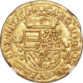 Belgium, Belgium: Brabant. Charles V gold Couronne d'or au soleil 1554 MS61NGC,...