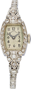 Estate Jewelry:Watches, Art Deco Hamilton Diamond, Platinum Watch. ...
