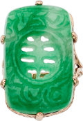 Estate Jewelry:Rings, Jadeite Jade, Rose Gold Ring. ...