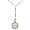 Estate Jewelry:Watches, Enamel, Platinum, Gold Pendant Watch, circa 1915, Retailed by Tiffany & Co.. ...