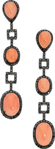 Estate Jewelry:Earrings, Coral, Colored Diamond, White Gold Earrings, Eli Frei. ...