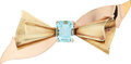Estate Jewelry:Brooches - Pins, Retro Aquamarine, Gold Brooch, Cartier. ...