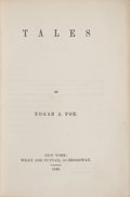 Books:Mystery & Detective Fiction, Edgar A[llan] Poe. Tales. New-York: Wiley & Putnam,1845. First edition, first printing, with the copyright notice i...