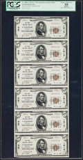 National Bank Notes:Michigan, Cassopolis, MI - $5 1929 Ty. 1 The First NB Ch. # 1812 Uncut Sheet. ...