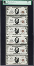 National Bank Notes:California, Tustin, CA - $10 1929 Ty. 1 The First NB Ch. # 10134 Uncut Sheet of Serial Number 1 Notes. ...