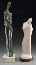 Fine Art - Sculpture, American:Contemporary (1950 to present), Two Copper and Carved Marble Figures of Madonna with Charcoal andGouache Drawing. 28-1/2 x 11-3/4 inches (72.4 x 29.8 cm). ...(Total: 3 Items)