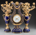 Clocks & Mechanical:Clocks, A Three-Piece Louis XVI-Style Gilt Bronze and Cobalt Glazed Porcelain Lyre Clock Garniture, late 19th-early 20th century. Ma... (Total: 3 Items)