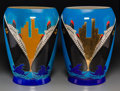 Ceramics & Porcelain, A Large Pair of Danillo Curetti for Longwy Art Deco Ceramic New York New York Vases, late 20th century. Marks:... (Total: 3 Items)