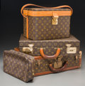 Decorative Arts, French, Four Various Pieces of Louis Vuitton Leather Luggage. 16-1/2 h x17-3/4 w x 5-1/2 d inches (41.9 x 45.1 x 14.0 cm) (largest,...(Total: 4 Items)