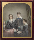 General Americana, An American Watercolor Portrait of Three Children in Leather Case,circa 1845. Signed lower left: E. Heaton 1845. 10-3/8...