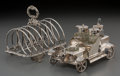 Silver Holloware, British:Holloware, A Victorian Regency-Style Silver Toast Rack with Silver-PlatedAutomobile Cruet Stand, late 19th-early 20th centuries. Marks...(Total: 2 Items)