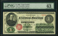 Large Size:Legal Tender Notes, Fr. 16c $1 1862 Legal Tender PMG Choice Uncirculated 63 EPQ.. ...