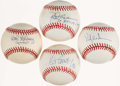 Autographs:Baseballs, Baseball Greats Single Signed Baseball Quartet (4) - IncludesCarew, Henderson, Garvey, & Gibson. ...