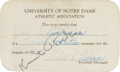 Football Collectibles:Tickets, 1929 Knute Rockne Signed Notre Dame Certification Pass....