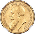 German States:Saxe-Meiningen, German States: Saxe-Meiningen. Georg II gold 10 Mark 1890-D AUDetails (Surface Hairlines) NGC,...