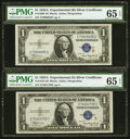 """Small Size:Silver Certificates, Fr. 1609/1610 $1 1935A """"R"""" & """"S"""" Silver Certificates. PMG Gem Uncirculated 65 EPQ. ... (Total: 2 notes)"""