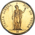 Italy:Lombardy-Venetia, Italy: Lombardy-Venetia. Revolutionary Provisional Government gold20 Lire 1848-M MS63 NGC,...