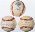 Autographs:Baseballs, New York Yankees Legends Single Signed Baseball Trio - Sain,O'Neill, & Henrich. ...