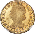 Colombia, Colombia: Republic gold 8 Escudos 1834 POPAYAN-FM VG10 NGC,...