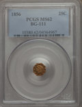 California Fractional Gold , 1856 25C Liberty Octagonal 25 Cents, BG-111, R.3, MS62 PCGS. PCGSPopulation: (97/140). NGC Census: (28/46). ...