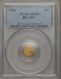 California Fractional Gold , 1864 50C Liberty Octagonal 50 Cents, BG-918, R.4, MS62 PCGS. PCGSPopulation: (24/24). NGC Census: (4/2). ...