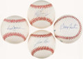 Autographs:Baseballs, Baseball Greats Single Signed Baseball Quartet (4) - IncludesFoster, Griffey Jr, Jackson, & Rice. ...