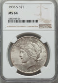 Peace Dollars: , 1935-S $1 MS64 NGC. NGC Census: (911/478). PCGS Population:(1601/925). CDN: $550 Whsle. Bid for problem-free NGC/PCGS MS64...