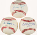 Autographs:Baseballs, Baseball Hall of Famers Single Signed Baseball Trio (3) - Includes Aaron, Mathews, & Lopez. ...
