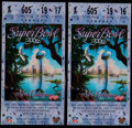 Football Collectibles:Tickets, 1997 Super Bowl XXXI Ticket Stub Pair (2 - Laminated). ...