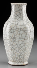 Asian:Chinese, A Chinese White Crackle Glazed Stoneware Hexagonal Vase. 6-1/8inches high (15.6 cm). ...