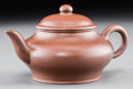 Asian:Chinese, A Small Chinese Yixing Pottery Teapot for the Thai Market. Marks:Two-character incised Gonju mark . 2-5/8 inches high (6.7 ...