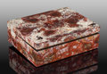 Decorative Arts, Continental, Crazy Lace Agate Box. Stone Source: Mexico. Artist:Konstantin Libman. 7.68 x 6.10 x 2.36 inches (19.50 x 15.50 x6....