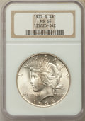 Peace Dollars: , 1935-S $1 MS65 NGC. NGC Census: (408/64). PCGS Population:(754/162). CDN: $1,100 Whsle. Bid for problem-free NGC/PCGS MS65...