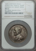 U.S. Presidents & Statesmen, 1868 MS General U.S. Grant, Shell Campaign Medal, DeWittUSG-1868-51, MS63 NGC. Silvered brass, 32 mm. High reliefportrait...