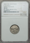 Civil War Patriotics, 1863 MS United We Stand Civil War Token AU58 NGC. Fuld 167/435e,white metal. A pleasing silver-gray example, struck from r...