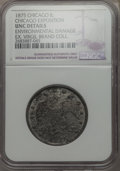 Expositions and Fairs, 1875 MS Third Annual Chicago Exposition -- Environmental Damage --NGC Details. Unc. White Metal. Dark brown patina and fai...