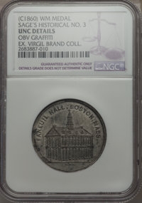 (Circa 1860) MS Sage's Historical Tokens No. 3, Faneuil Hall, Boston -- Graffiti -- NGC Details. Unc. White Metal. Trivi...