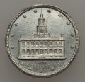 Expositions and Fairs, 1876 MS Centennial Token, Unc Uncertified. White metal, 18 mm. A pleasing light gray token that depicts Independence Hall o...