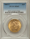 Liberty Eagles: , 1885-S $10 MS62 PCGS. PCGS Population: (285/109). NGC Census: (243/57). CDN: $670 Whsle. Bid for problem-free NGC/PCGS MS62...