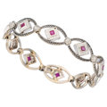 Estate Jewelry:Bracelets, Ruby, Colored Diamond, Diamond, White Gold Bracelet . ...