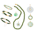 Estate Jewelry:Lots, Jade, Gold, Yellow Metal Jewelry Lot . ... (Total: 9 Items)