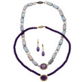 Estate Jewelry:Necklaces, Amethyst, Diamond, Freshwater Cultured Pearl, Gold, Sterling SilverNecklaces . ... (Total: 3 Items)