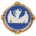 Estate Jewelry:Brooches - Pins, Victorian Ceramic, Gold Brooch, Wedgewood . ...