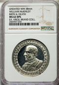 U.S. Presidents & Statesmen, Undated MS William McKinley Birth & Death Medal, MS62 DeepProoflike NGC. White metal, 38 mm. This piece is fully struck an...